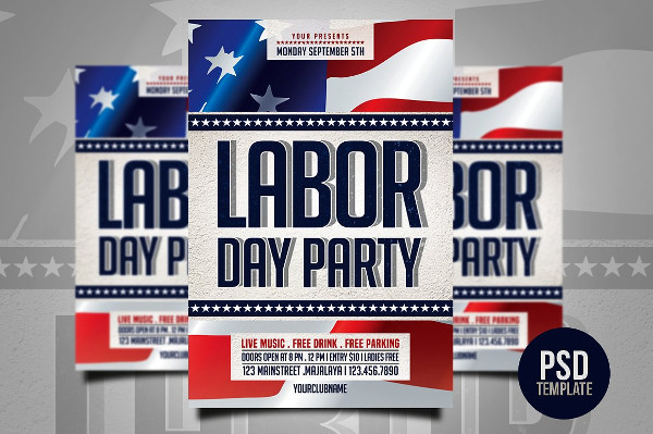 Abstract Labor Day Event Party Flyer