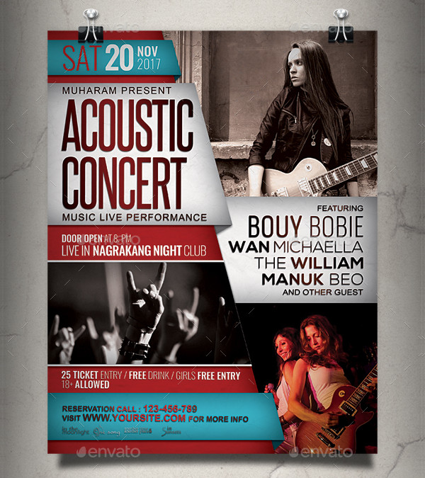 Acoustic Concert Flyer or Poster Template