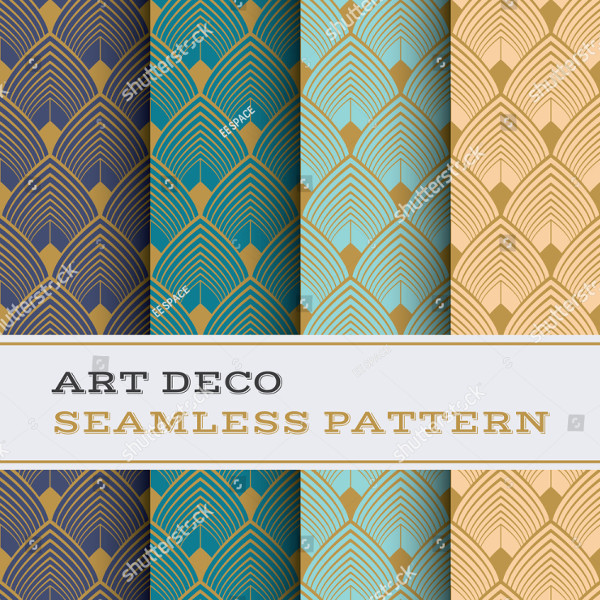 Art Deco Seamless Pattern with Color Background