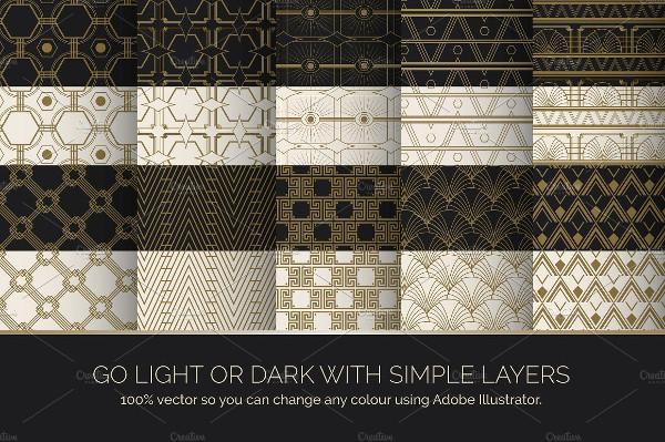 Art Deco Seamless Patterns & Background
