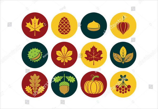 Autumn Icons In Modern Line Style