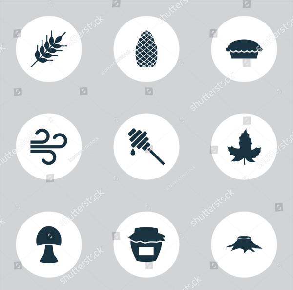 Autumn Icon Set With Champignon Leaf