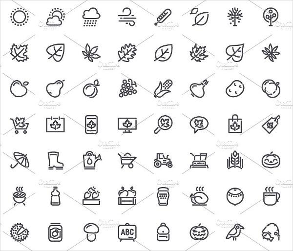 Cool Autumn Line Icons Set