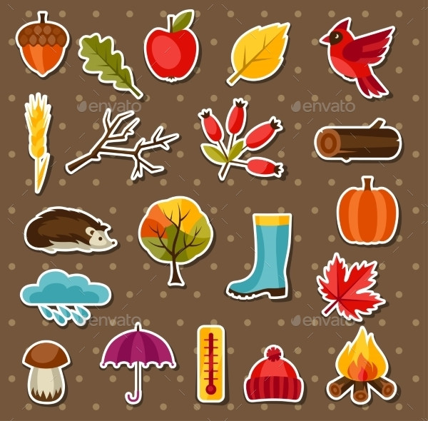 Autumn Sticker Icons And Objects Set for Design