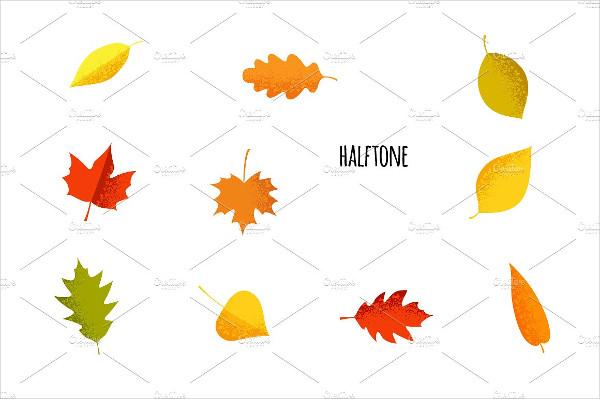 Cartoon Autumn Leaves Icons Set