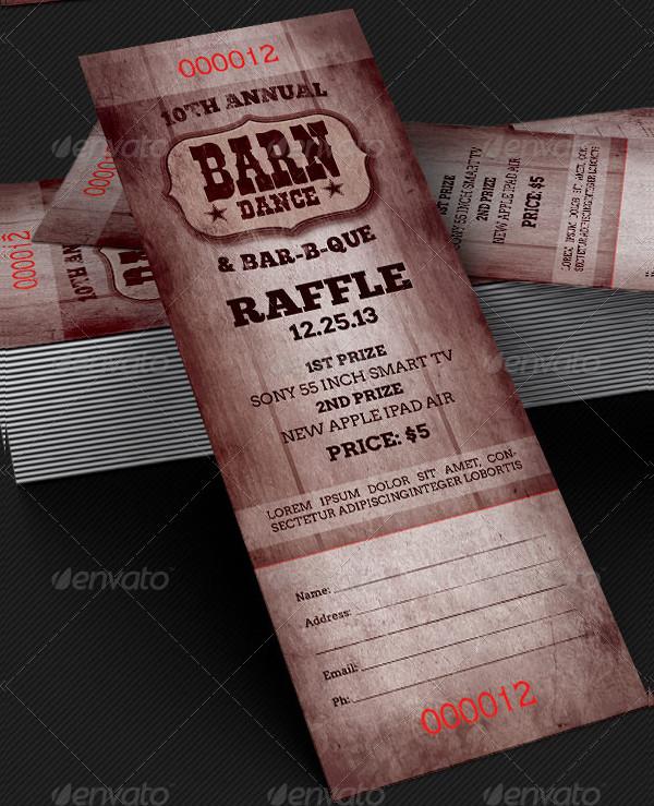 Barn Dance BBQ Raffle Ticket Template