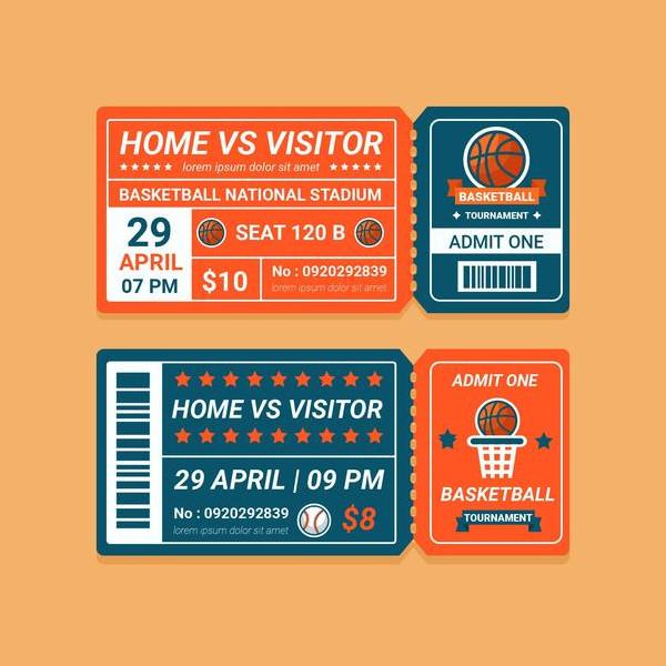 Basket Tournament Ticket in Flat Design Free