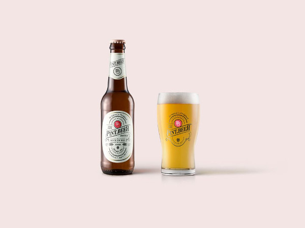 Beer Bottle and Glass Mockup Free