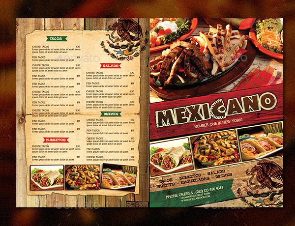 Unique Mexican Bifold Menu Template