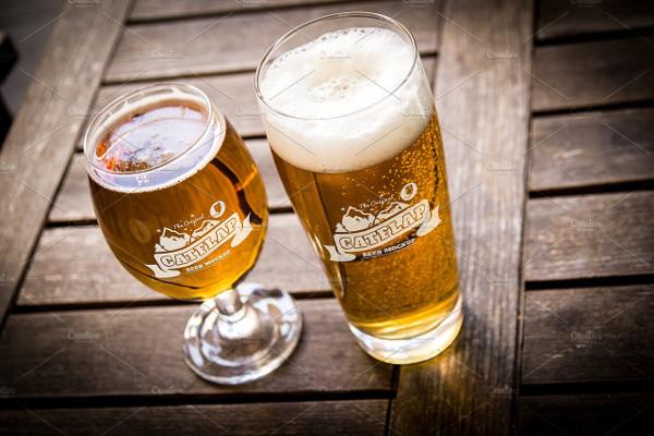 Big Beer Glass Showcase Mockup