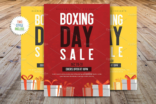 Stylish Boxing Day Sale Marketing Flyer Template