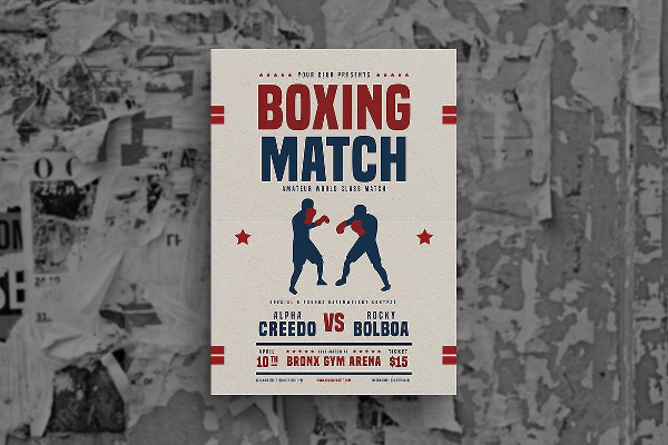 Retro Boxing Match Flyer Template