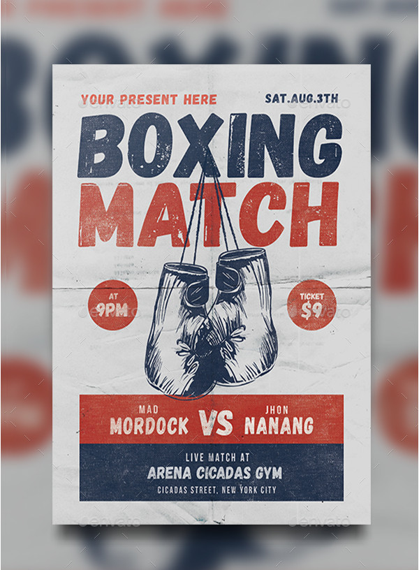 Boxing Match Promotional Flyer Template