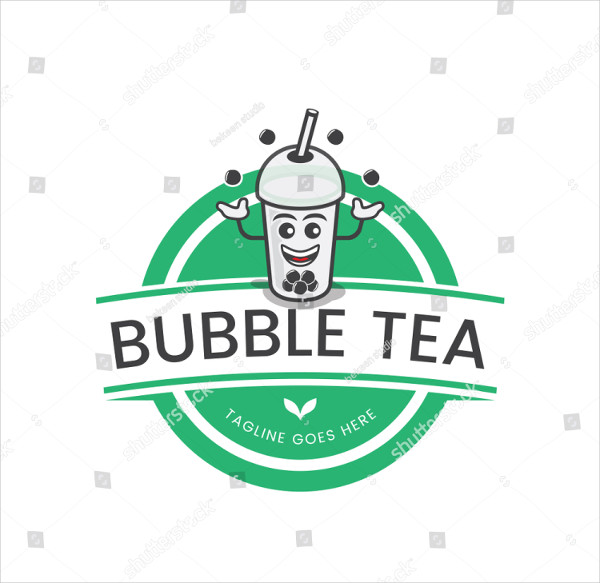 Bubble Tea Logo Flat Design