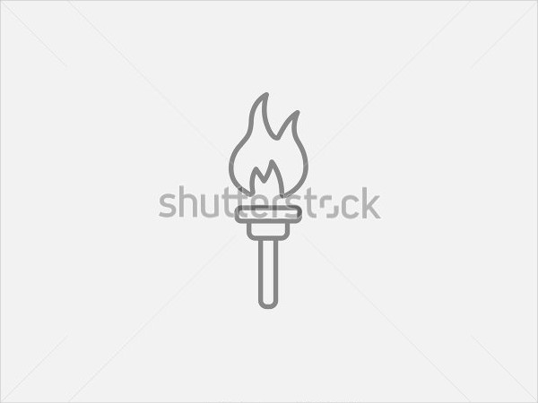 Burning Olympic Torch Line Icon