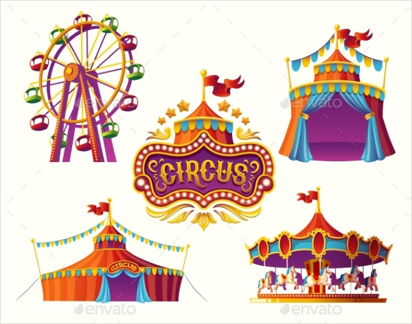 Carnival Circus Icons with Tent