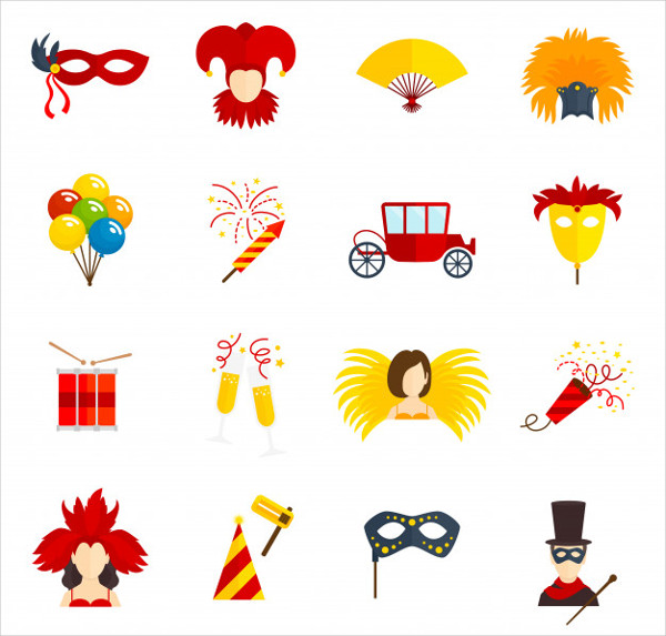 Carnival Flat Icons Set Free Vector