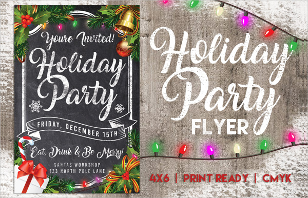 Chalk Holiday Party Flyer Design