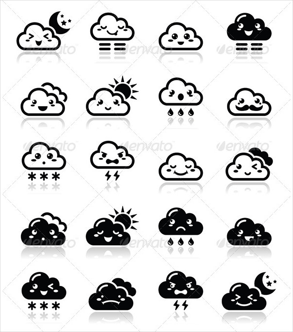 Funny Cartoon Icons Set of Clouds
