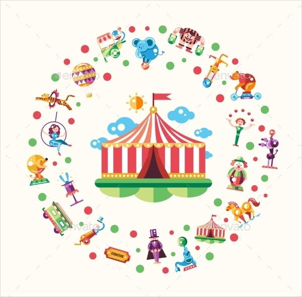 Circus Icons And Infographic Elements