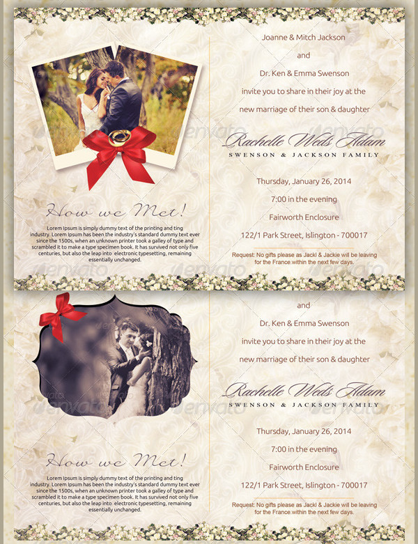Classic Wedding Invitation Postcard