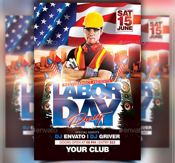 Clean Labor Day Flyer Template