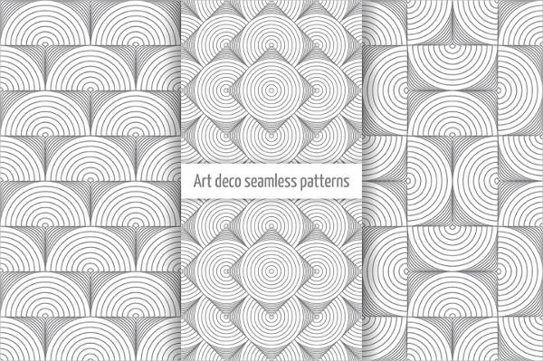 Clean Set of Art Deco Seamless Patterns