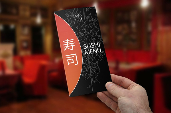 Clean Tri-Fold Sushi Menu Template