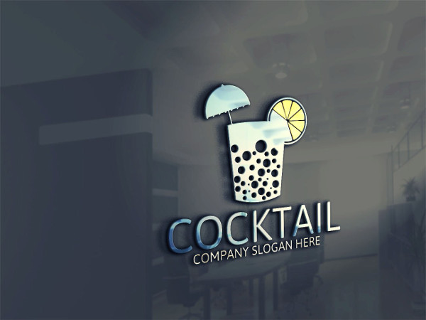 Custom Cocktail Drinks Logo