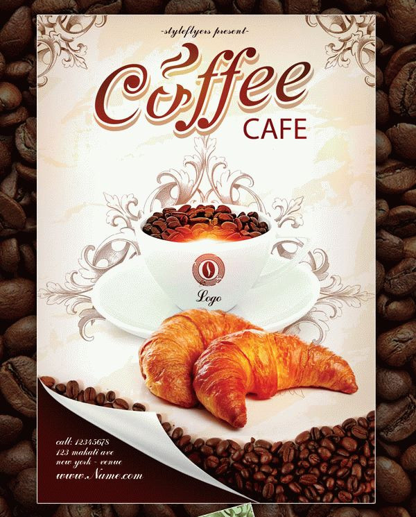 Coffee Cafe Flyer Free Download PSD Template