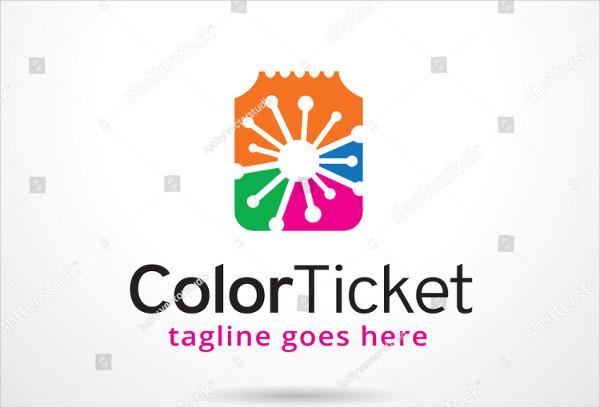 Colorful Ticket Design Logo Template Vector