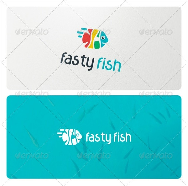 Colorful Fasty Fish Logo Template
