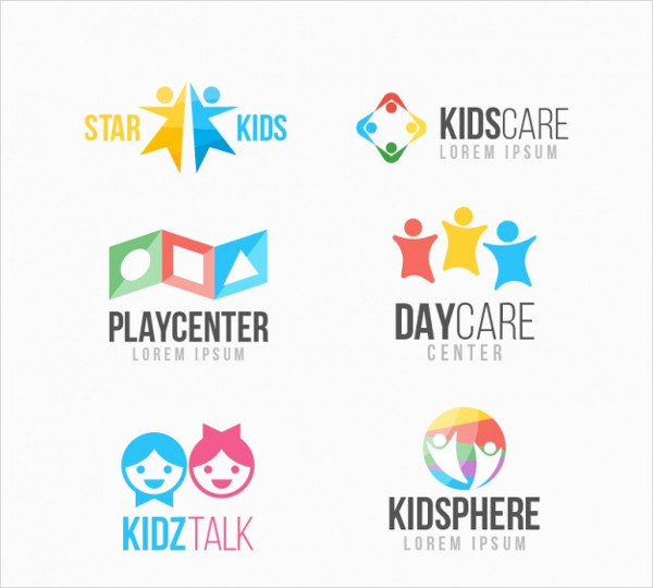 Colorful Funny kid Logos Collection Free Vector