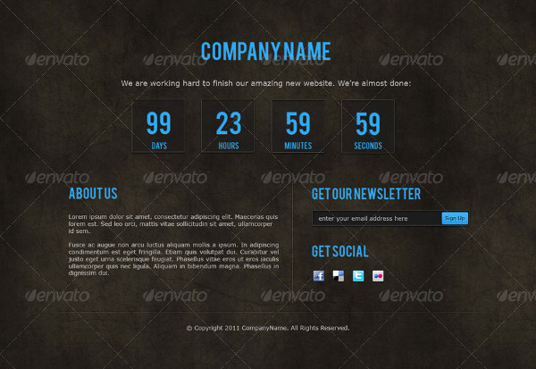 Company Coming Soon Page Templates
