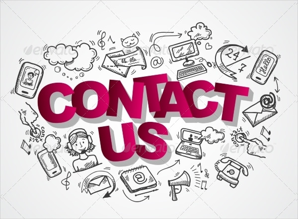 Contact Us Sketch Icons Composition
