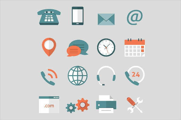 Contact Us Flat Icons Vector