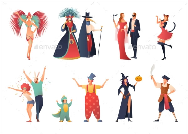 Decorative Carnival Party Icons Set