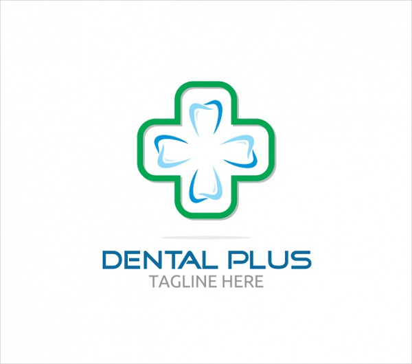 Dental Plus Logo with Cross Free Vector