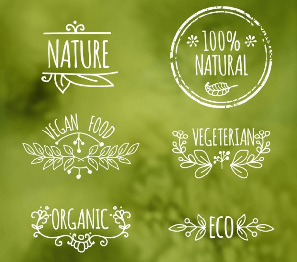 Ecologic Food Labels Free Vector