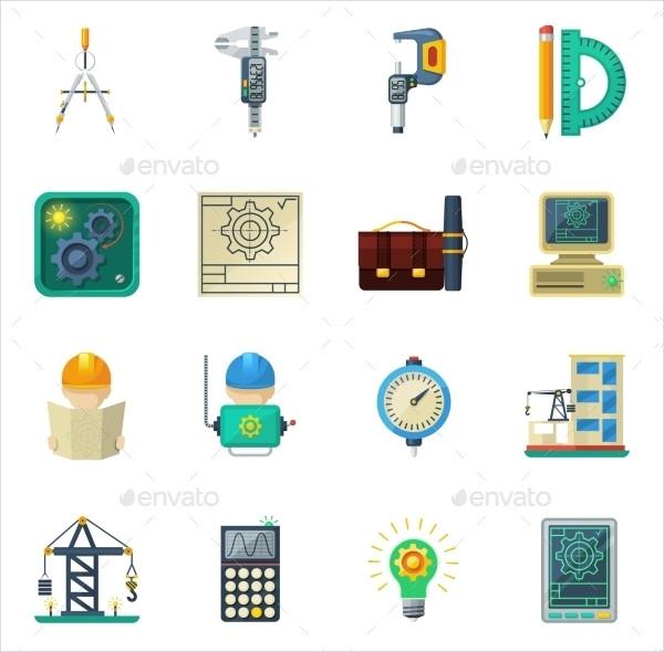 Engineering Flat Icons Set