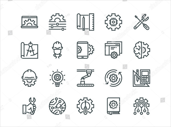 Engineering Set Of Outline Vector Icons