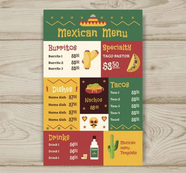 Flat Mexican Food menu Design Free Download
