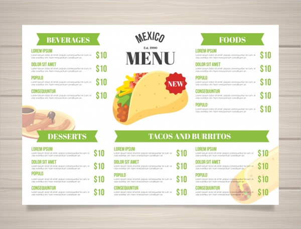 Flat Mexican Food Menu Template Free Download