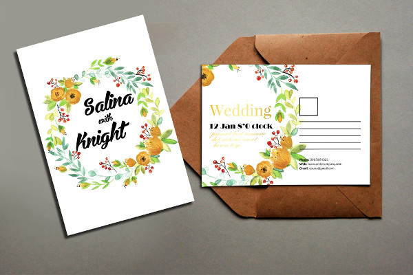 Floral Wedding Postcard Template