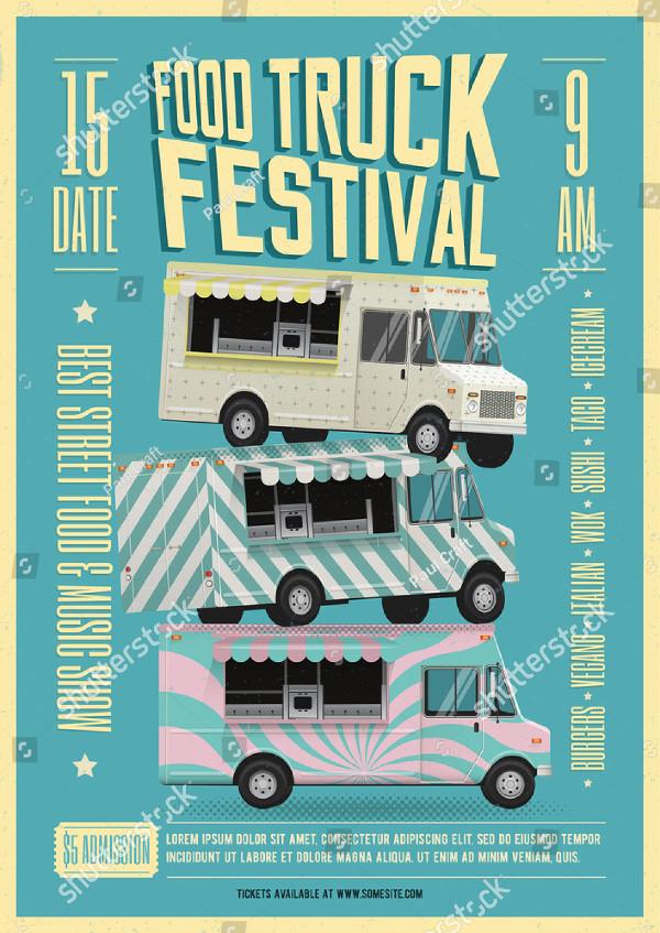 Food Truck Festival Vector Flyer Design