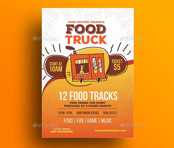 Fully Editable Food Truck Fest Flyer