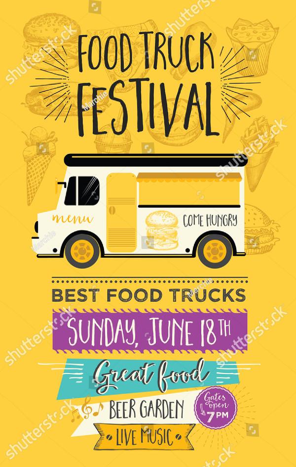 Clean Food Truck Festival Menu Flyer Template