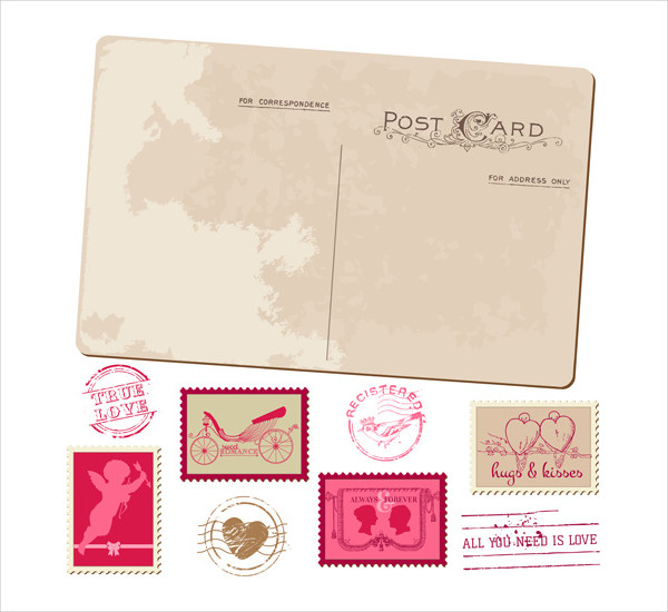 Free Download Vintage Wedding Postcards with Stamps