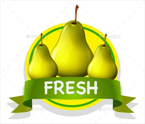 Fresh Food Label with Pears