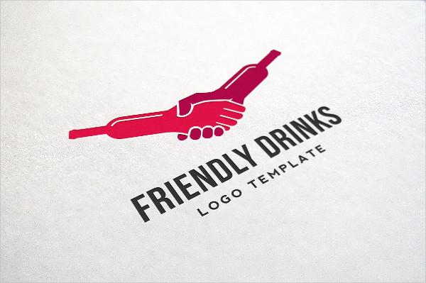 Friendly Drinks Bar Logo Template